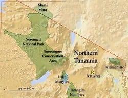 Northern Tanzania map image