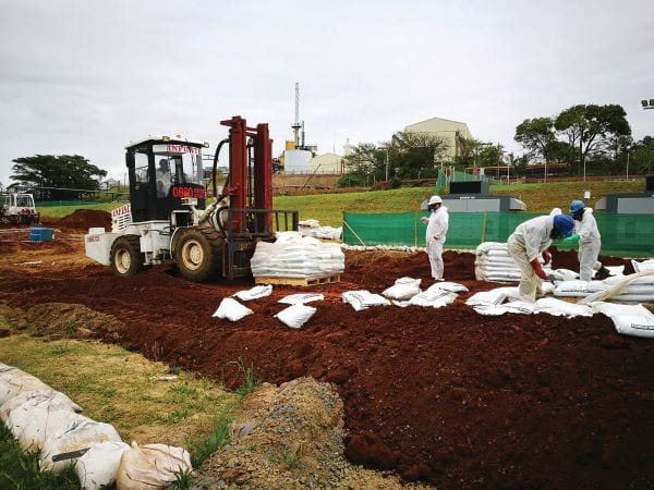 Chemical fixation remediates polluted soil