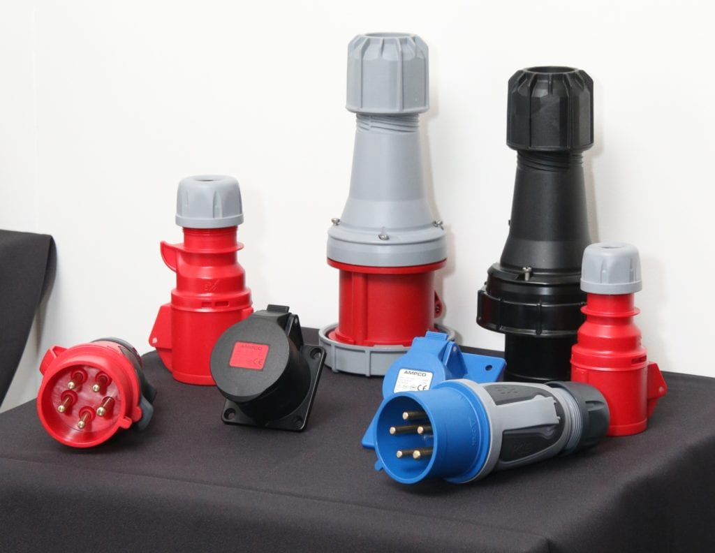 Powermite exhibits AMPCO's plastic range of couplers (back) flanged sockets straight (middle) and 5 pin plug  (right).